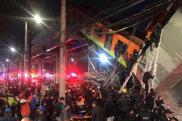 فرو ریختن پل قطار شهری در مکزیک، 15 نفر کشته و 80 تَن زخمی شدند